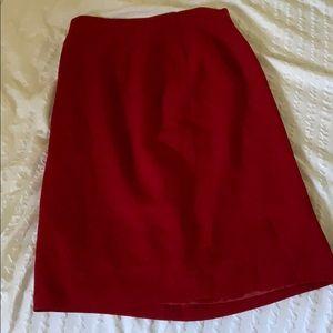 Vintage 100% wool red midi skirt